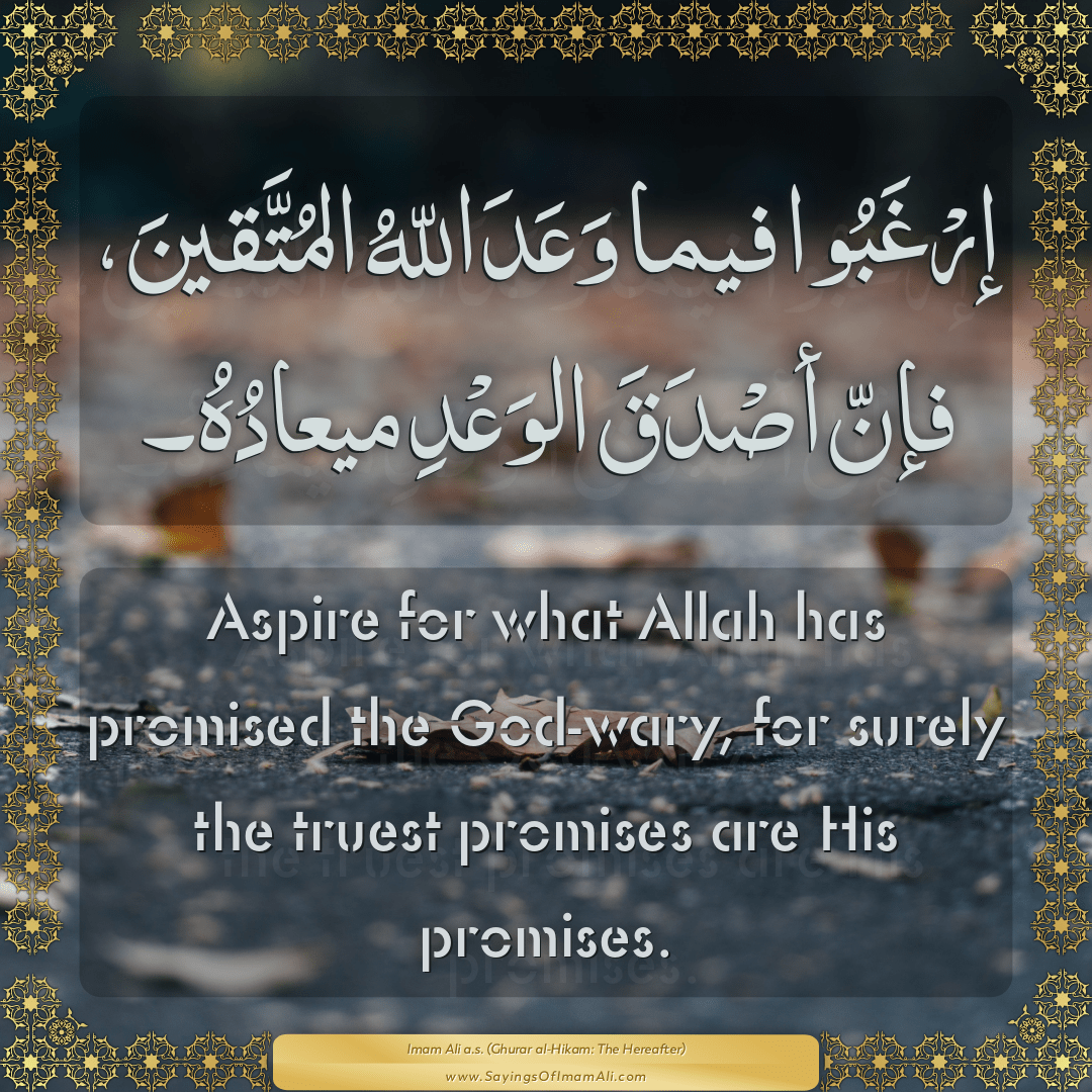 Aspire for what Allah has promised the God-wary, for surely the truest...